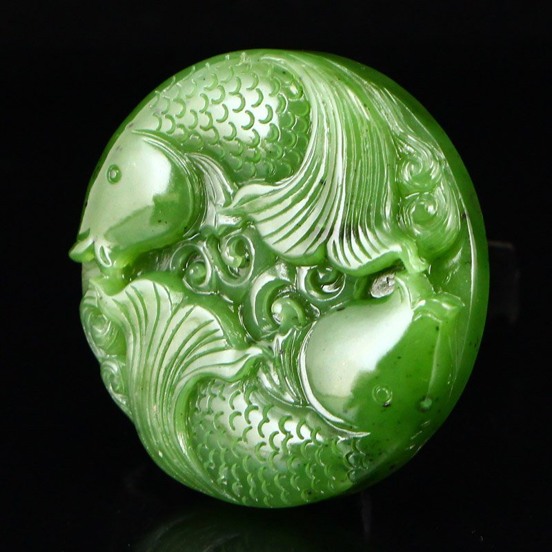 Chinese Natural Green Hetian Jade Double Fish Pendant - 3