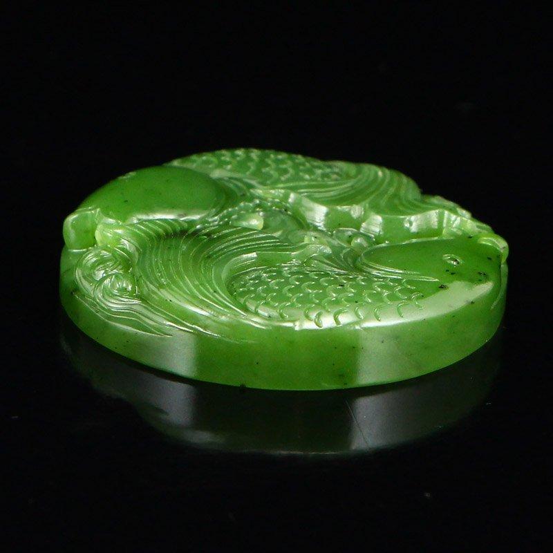 Chinese Natural Green Hetian Jade Double Fish Pendant - 5