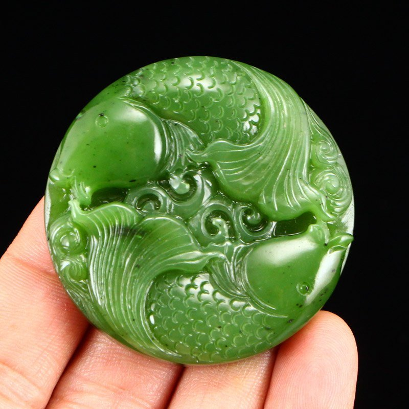 Chinese Natural Green Hetian Jade Double Fish Pendant - 6