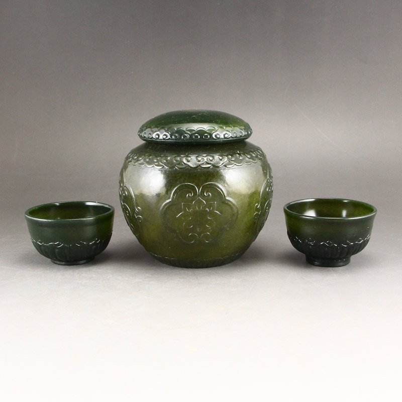 Chinese Qing Dy Green Hetian Jade Tea Caddy & Cups - 2