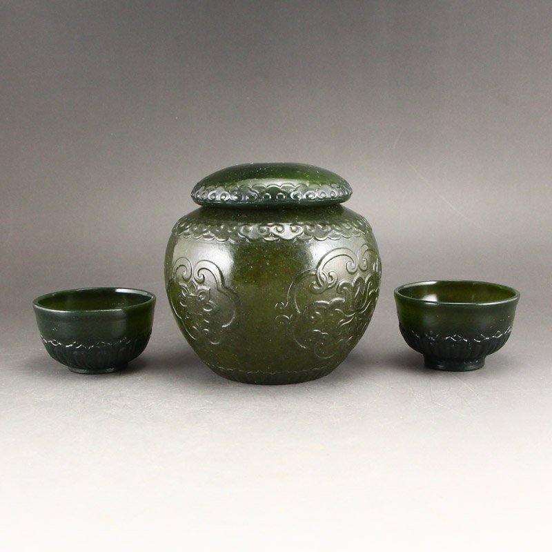 Chinese Qing Dy Green Hetian Jade Tea Caddy & Cups - 3