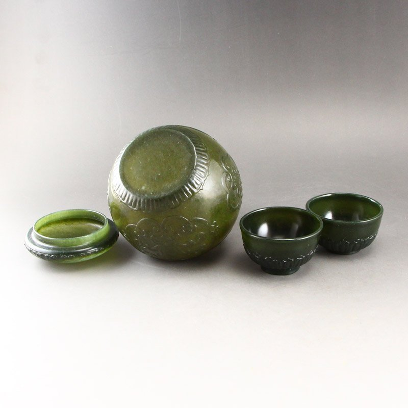 Chinese Qing Dy Green Hetian Jade Tea Caddy & Cups - 5