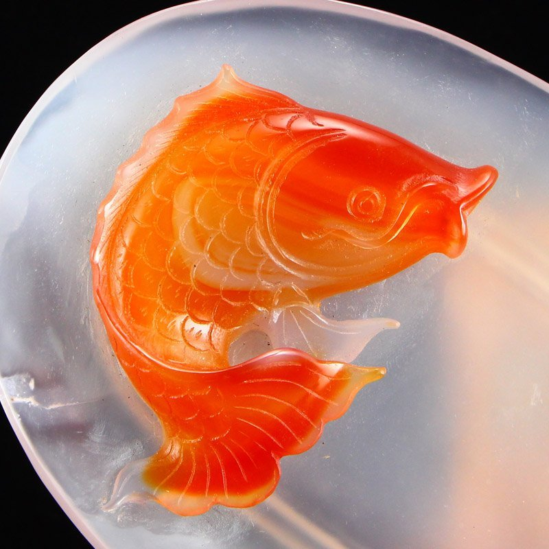 Beautiful Chinese Agate Plate Carp & Lotus Root - 5