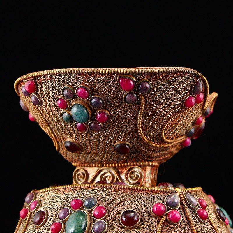 Tibetan Crystal Inlay Silver Wire & Gems Gabbra Bowl - 10
