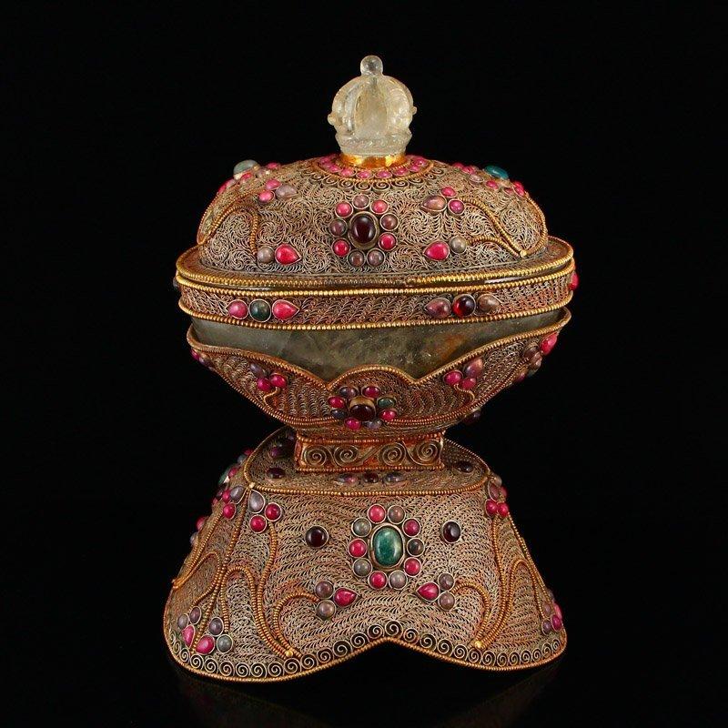 Tibetan Crystal Inlay Silver Wire & Gems Gabbra Bowl
