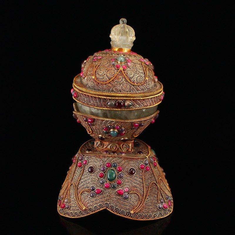 Tibetan Crystal Inlay Silver Wire & Gems Gabbra Bowl - 2
