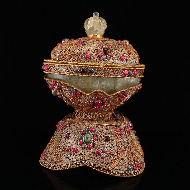 Tibetan Crystal Inlay Silver Wire & Gems Gabbra Bowl - 3
