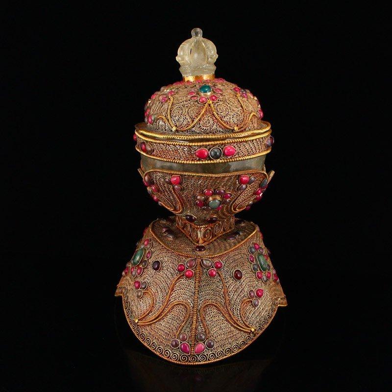 Tibetan Crystal Inlay Silver Wire & Gems Gabbra Bowl - 4