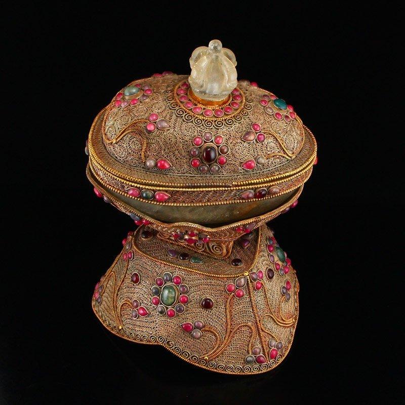 Tibetan Crystal Inlay Silver Wire & Gems Gabbra Bowl - 5