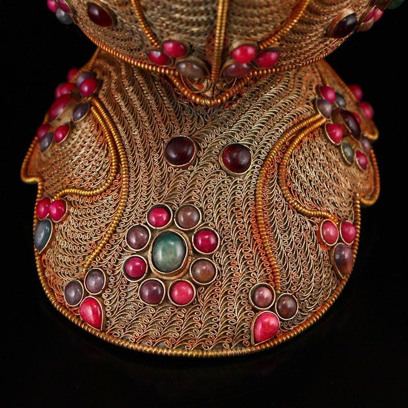 Tibetan Crystal Inlay Silver Wire & Gems Gabbra Bowl - 8