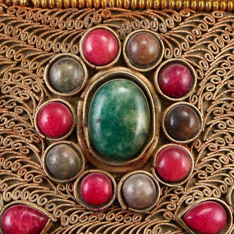 Tibetan Crystal Inlay Silver Wire & Gems Gabbra Bowl - 9