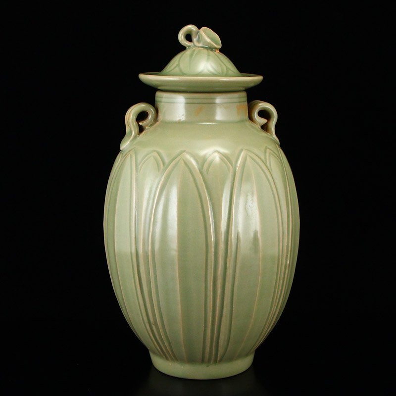Chinese Song Dy Yue Kiln Porcelain Jar w Lid