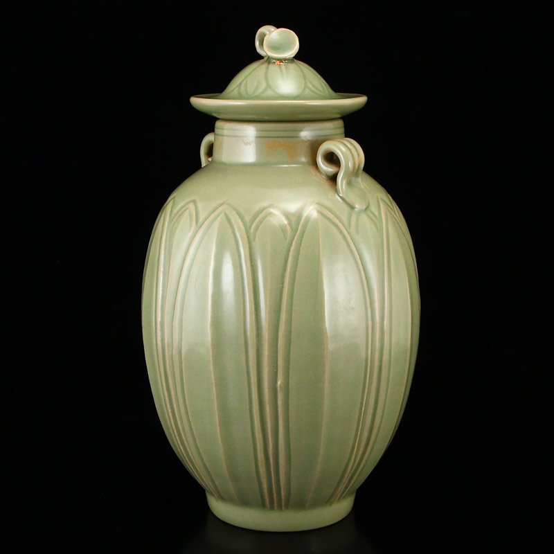 Chinese Song Dy Yue Kiln Porcelain Jar w Lid - 2