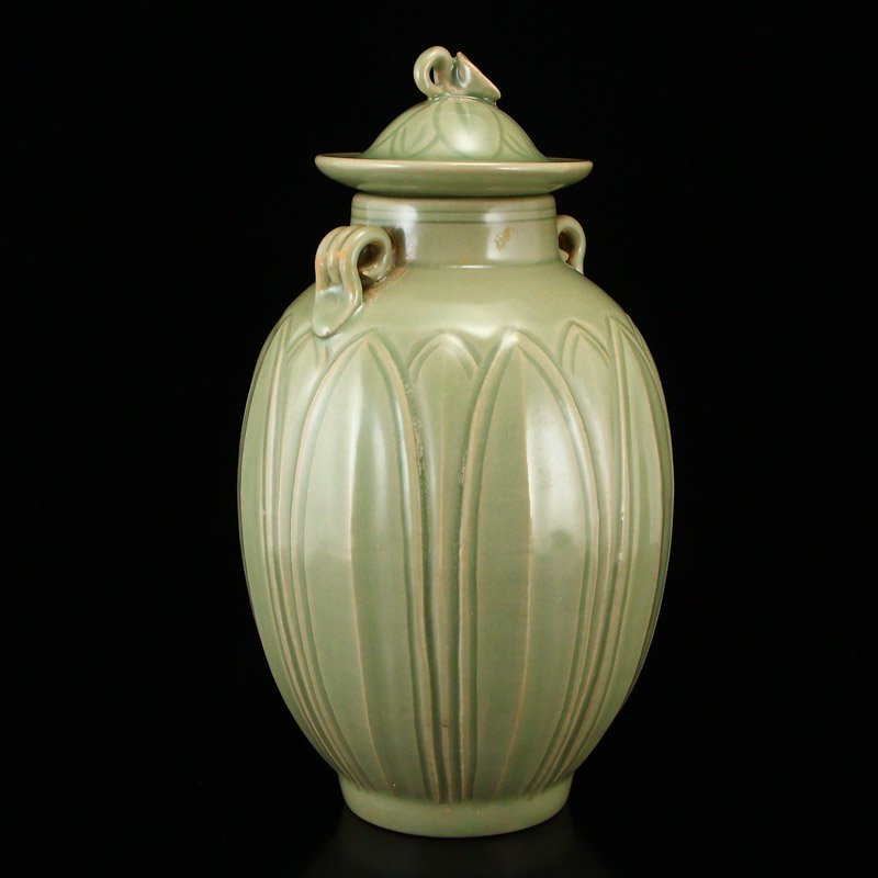 Chinese Song Dy Yue Kiln Porcelain Jar w Lid - 3