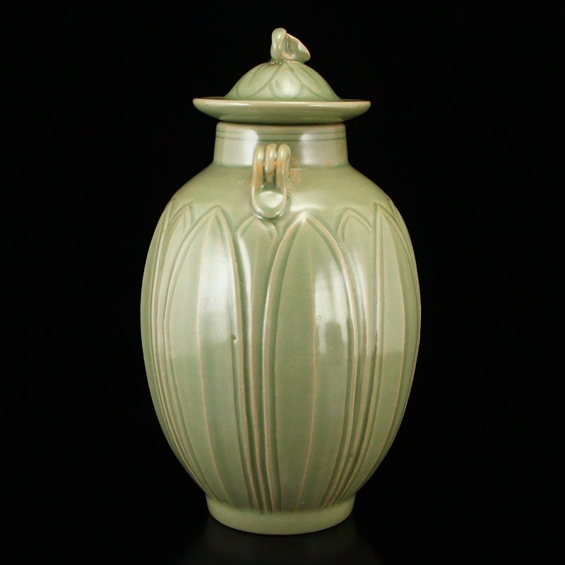 Chinese Song Dy Yue Kiln Porcelain Jar w Lid - 4