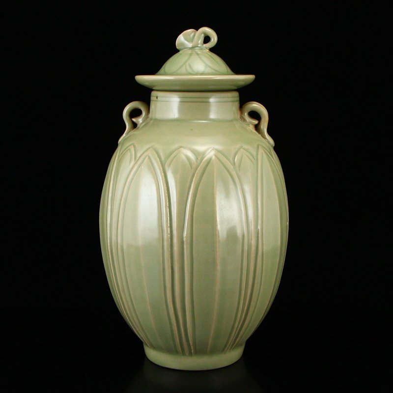Chinese Song Dy Yue Kiln Porcelain Jar w Lid - 5