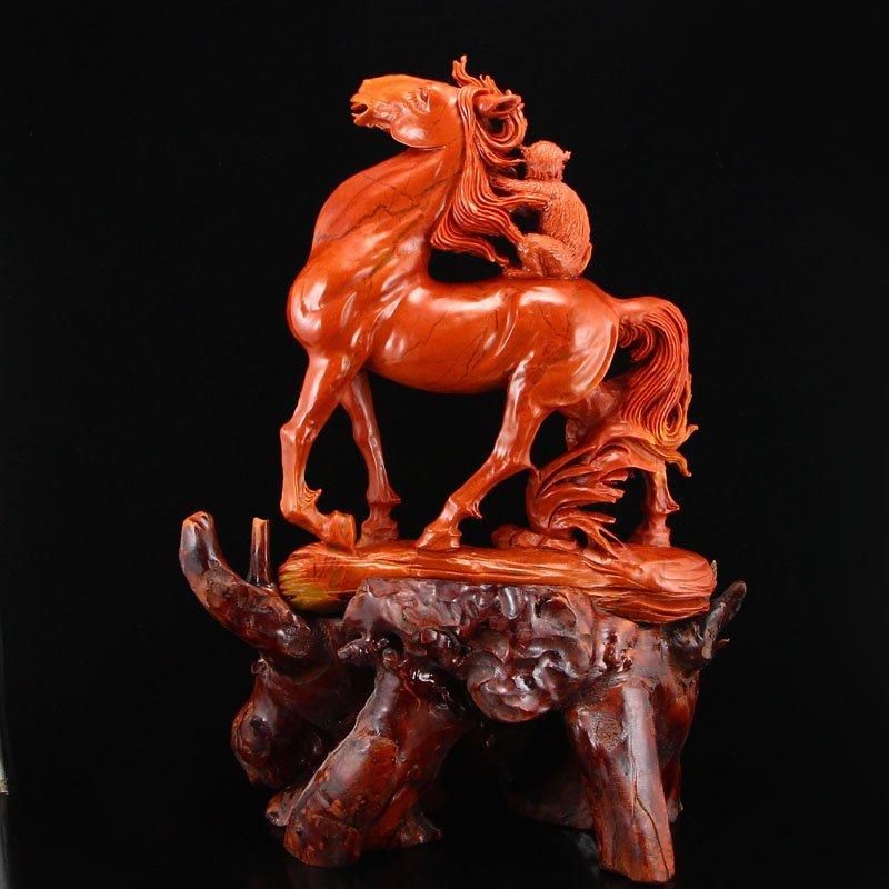 Chinese Natural Shoushan Stone Statue - Horse & Monkey - 4