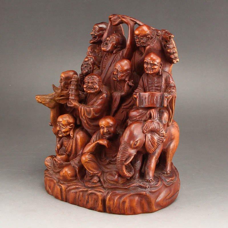 Vintage Boxwood Wood Statues - Buddhism Eighteen Arhats - 10