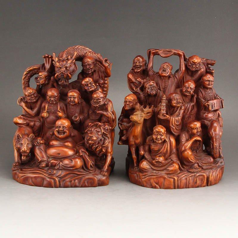 Vintage Boxwood Wood Statues - Buddhism Eighteen Arhats