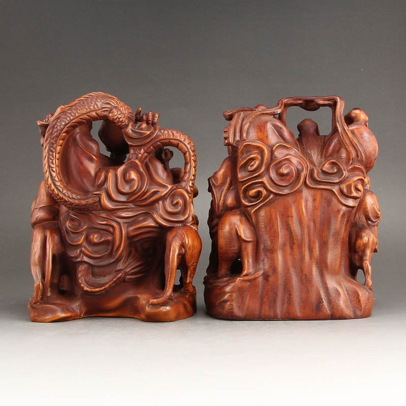 Vintage Boxwood Wood Statues - Buddhism Eighteen Arhats - 4