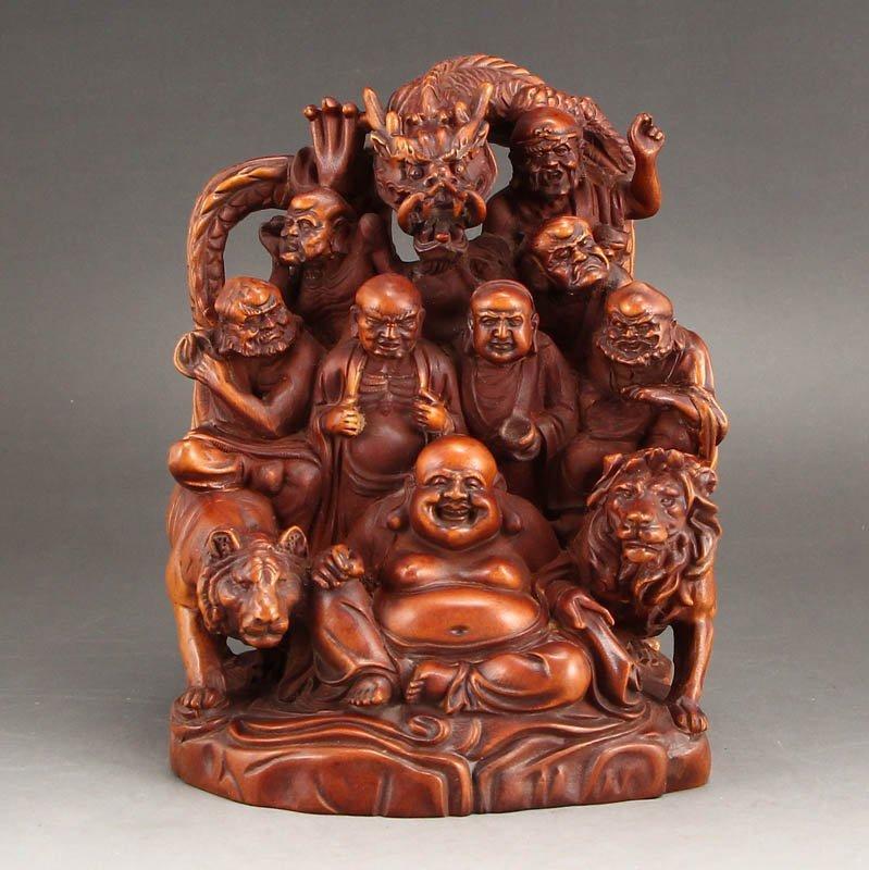 Vintage Boxwood Wood Statues - Buddhism Eighteen Arhats - 5