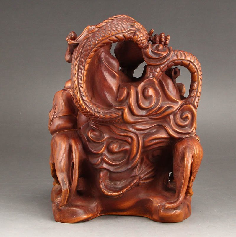 Vintage Boxwood Wood Statues - Buddhism Eighteen Arhats - 7