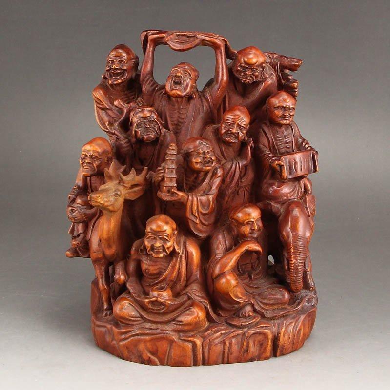 Vintage Boxwood Wood Statues - Buddhism Eighteen Arhats - 9