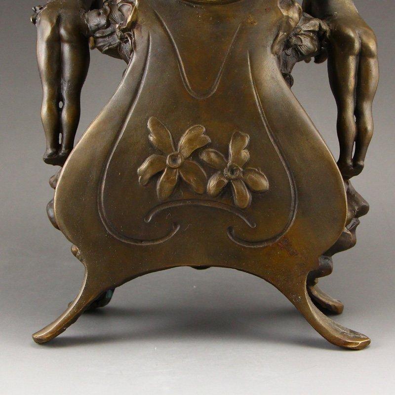 Vintage Brass Mechanical Watch w Angels - 10