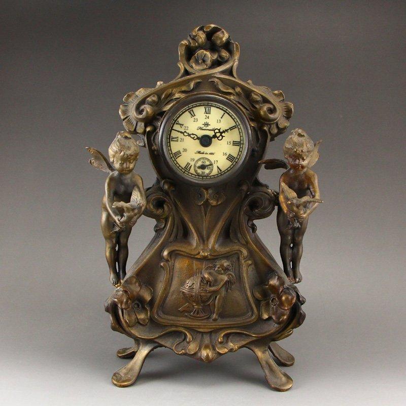 Vintage Brass Mechanical Watch w Angels