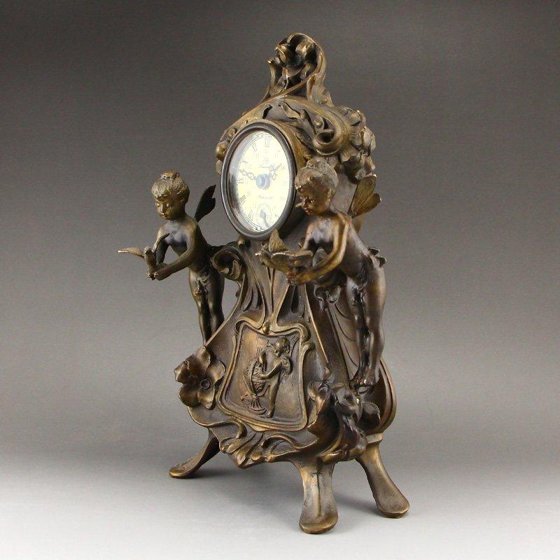Vintage Brass Mechanical Watch w Angels - 2