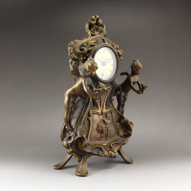 Vintage Brass Mechanical Watch w Angels - 3