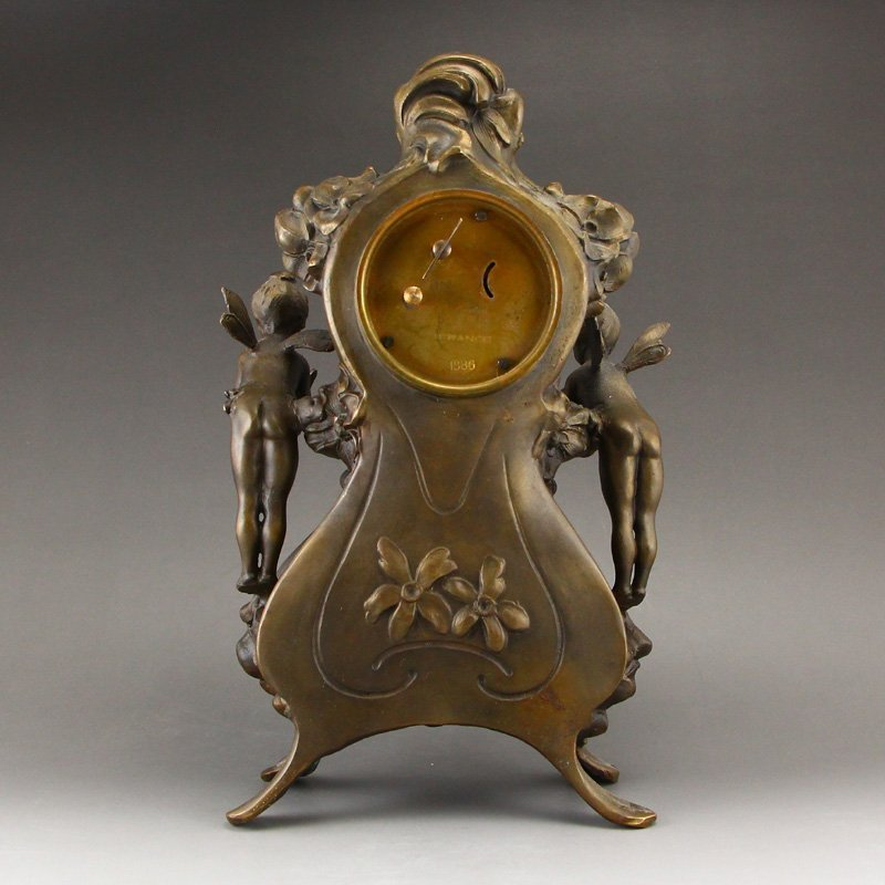 Vintage Brass Mechanical Watch w Angels - 5