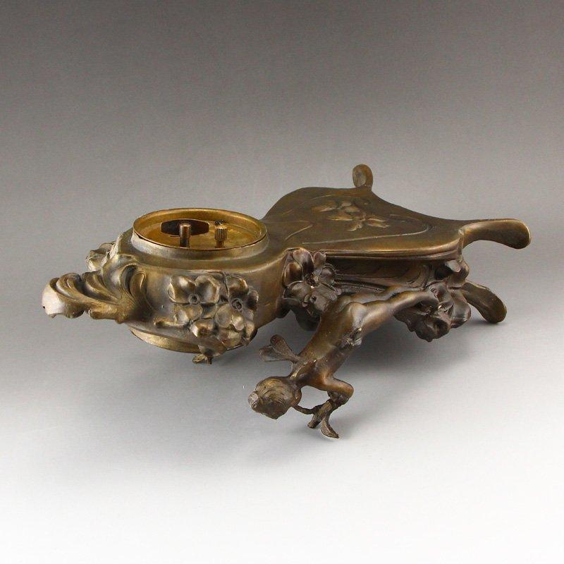 Vintage Brass Mechanical Watch w Angels - 7