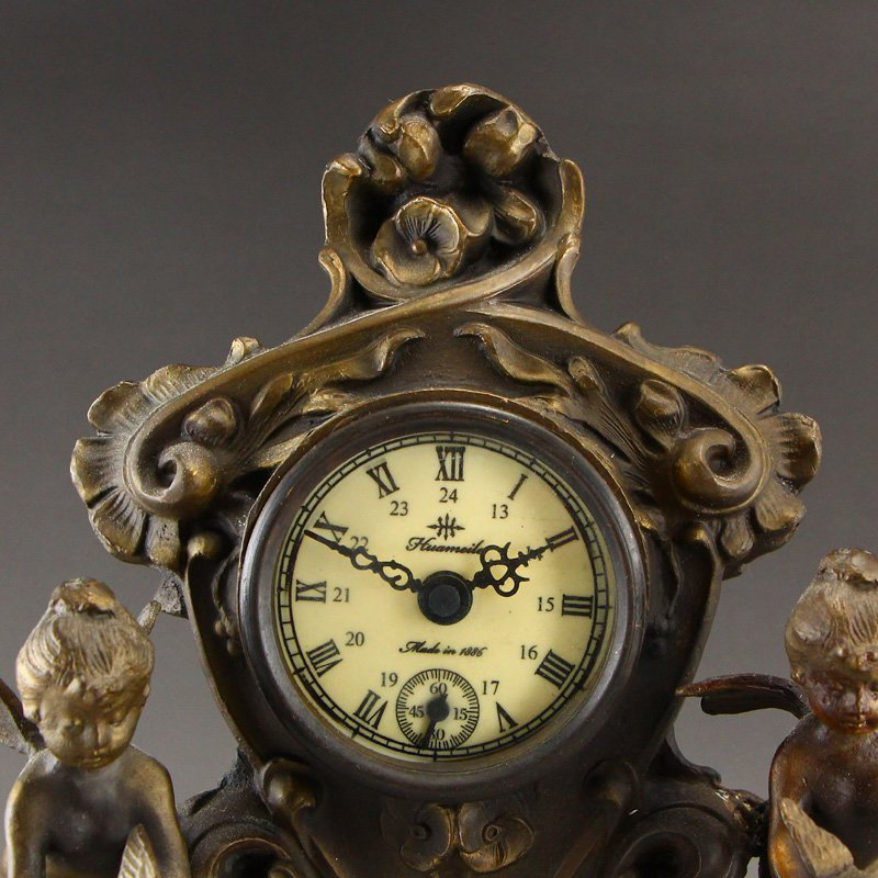 Vintage Brass Mechanical Watch w Angels - 8