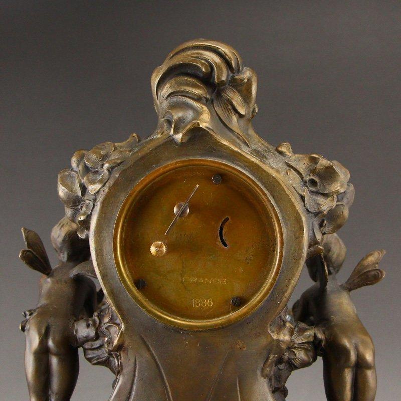 Vintage Brass Mechanical Watch w Angels - 9