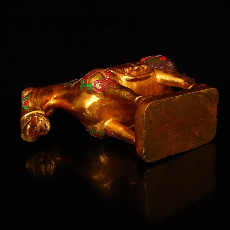 Chinese Gilt Gold Hetian Jade Statue - Horse - 5