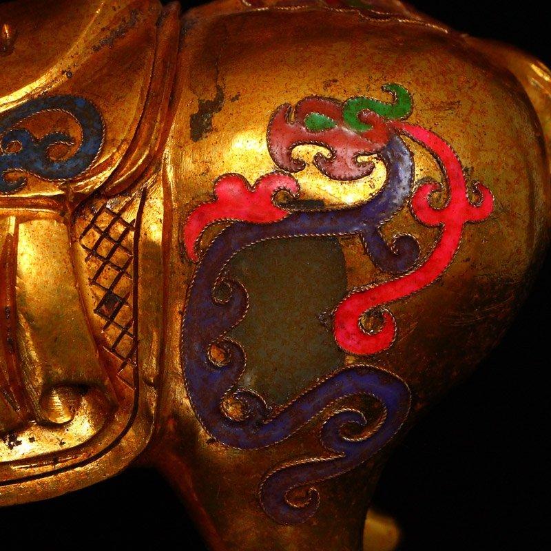 Chinese Gilt Gold Hetian Jade Statue - Horse - 7