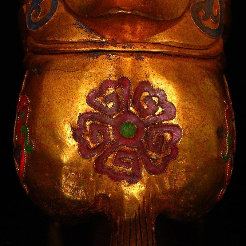 Chinese Gilt Gold Hetian Jade Statue - Horse - 8