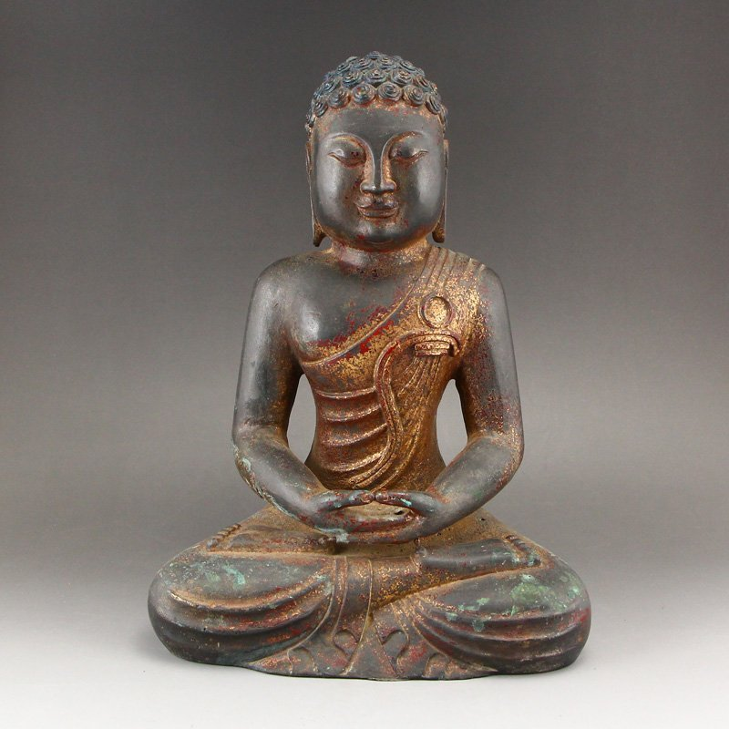 Chinese Gilt Gold Red Copper Siddhartha Buddha Statue