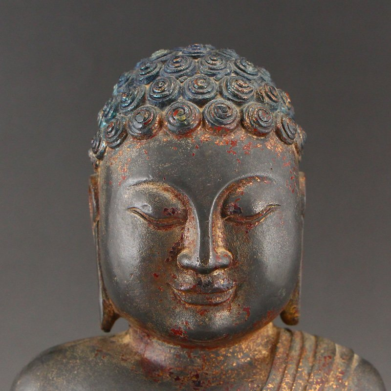 Chinese Gilt Gold Red Copper Siddhartha Buddha Statue - 7