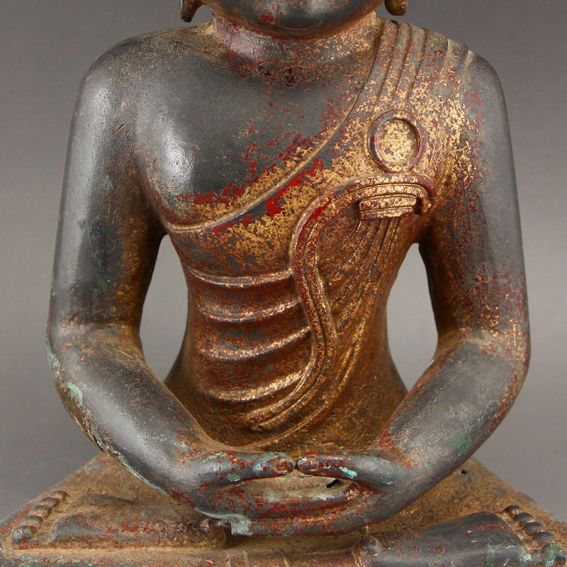 Chinese Gilt Gold Red Copper Siddhartha Buddha Statue - 8