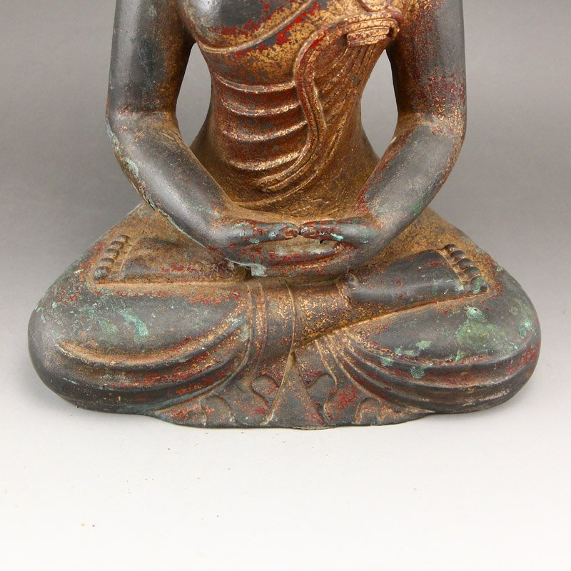 Chinese Gilt Gold Red Copper Siddhartha Buddha Statue - 9