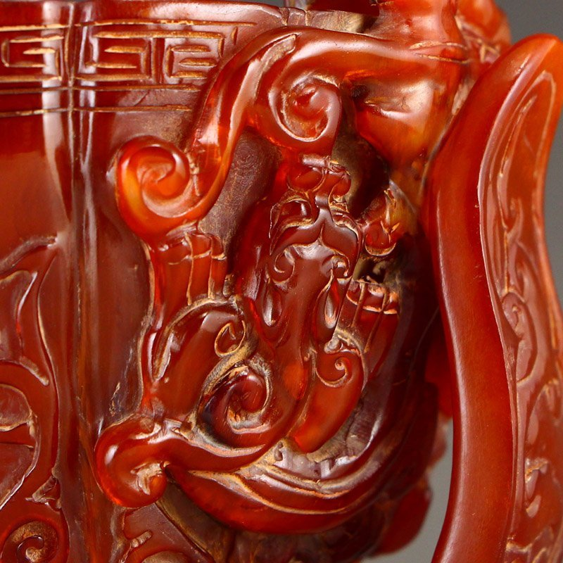 Vintage Chinese Ox Horn High Relief Chi Dragons Cup - 10