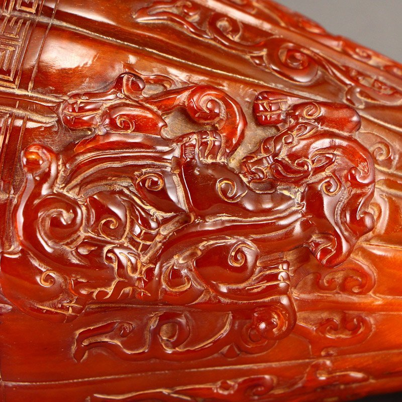 Vintage Chinese Ox Horn High Relief Chi Dragons Cup - 11
