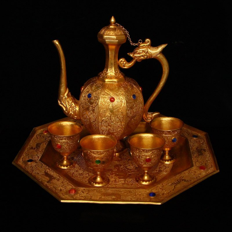 Gilt Gold Red Copper Inlay Gems Wine Pot & Cups