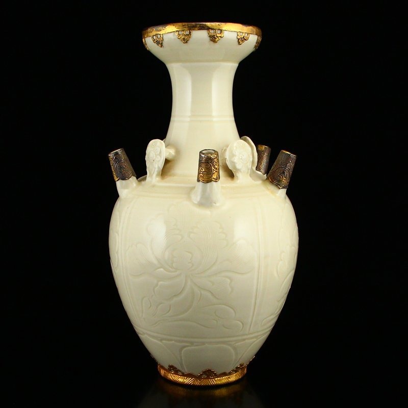 Beautiful Song Dy Ding Kiln Inlay Gold Porcelain Vase - 3