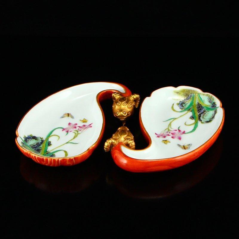 Pair Gilt Gold Famille Rose Porcelain Brush Washers