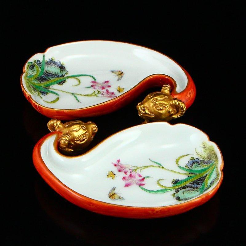 Pair Gilt Gold Famille Rose Porcelain Brush Washers - 2