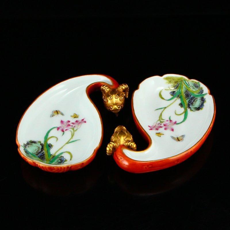 Pair Gilt Gold Famille Rose Porcelain Brush Washers - 3
