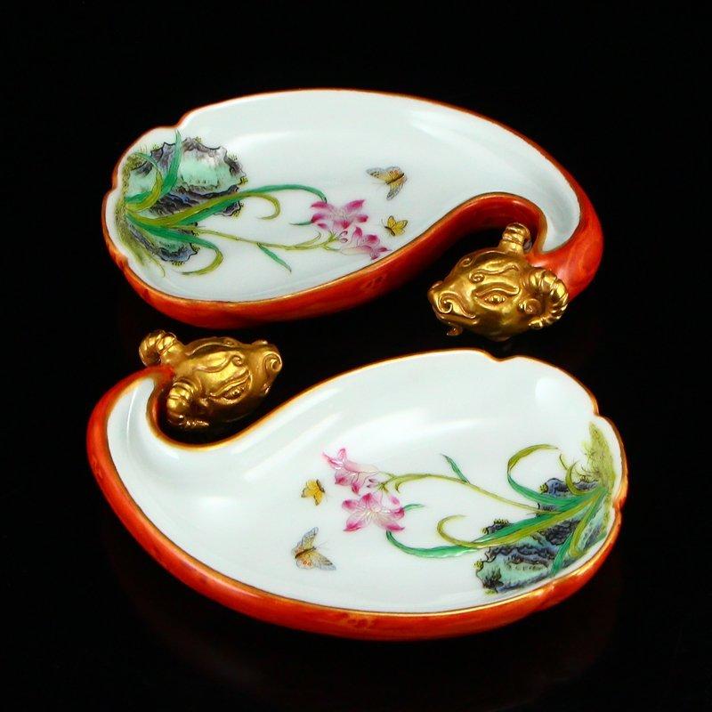 Pair Gilt Gold Famille Rose Porcelain Brush Washers - 4